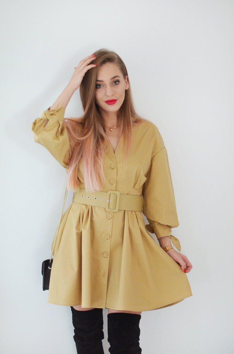 BEIGE BELTED DRESS
