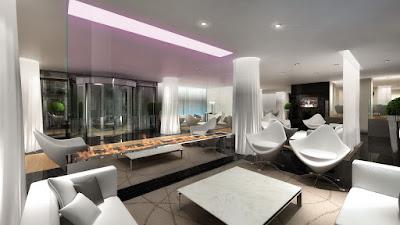 Perspective 3d intérieure lobby hôtel de luxe