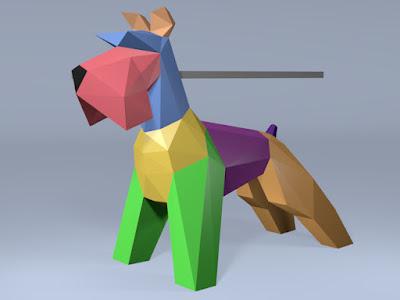 modelo 3d dividido en colores para realizar una escultura de papel.