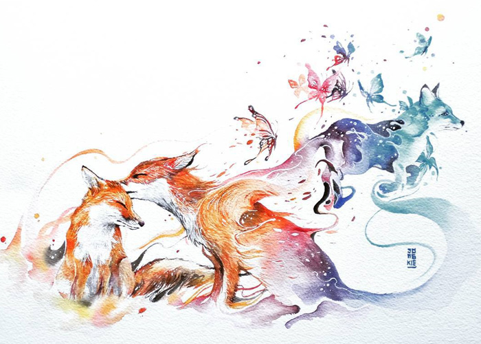 03-Last-Kiss-Luqman Reza jongkie-Painting-Fantasy-worlds-with-Flowing-Watercolor-Animals-www-designstack-co