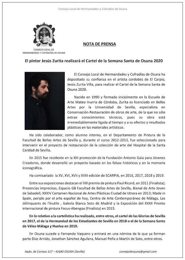 El pintor Jesús Zurita realizará el Cartel de la Semana Santa de Osuna 2020.