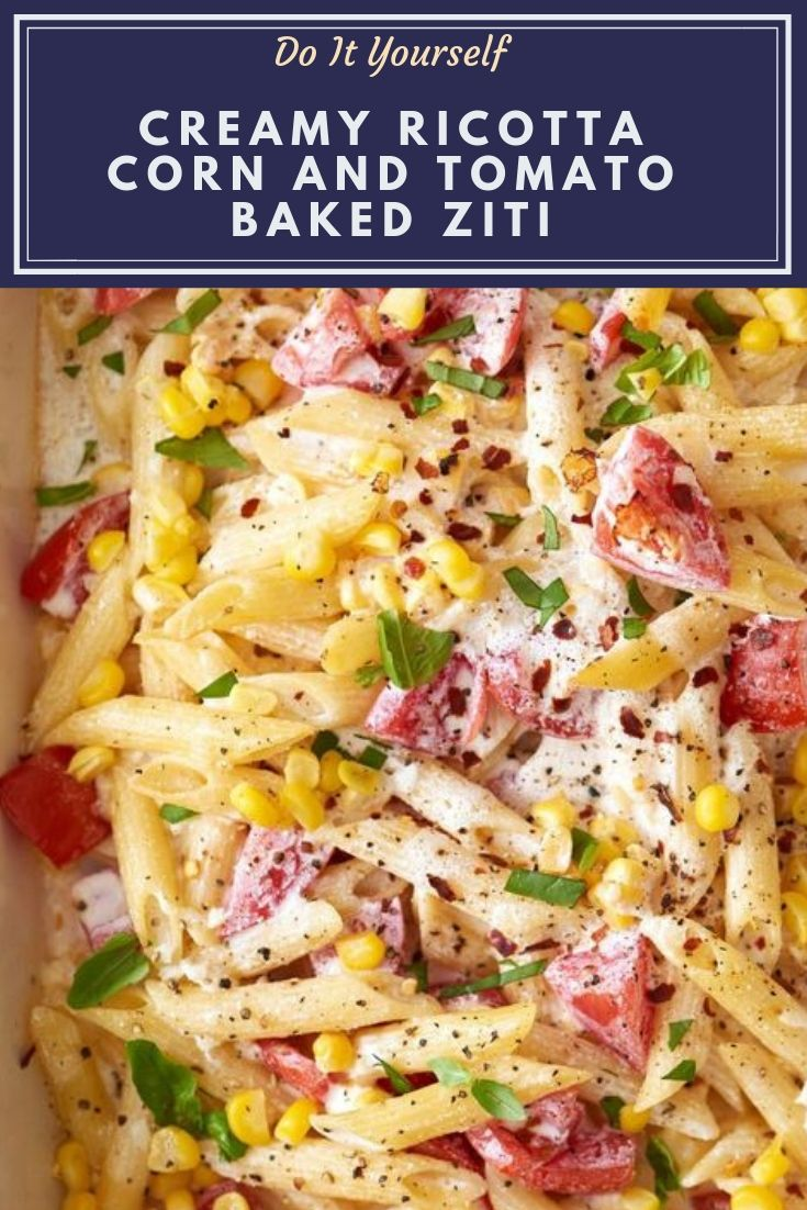 Creamy Ricotta Corn and Tomato Baked Ziti Recipe. Looking for ideas and recipes to use up fresh summer tomatoes and corn? This healthy, lighter take on ziti is one of the most perfect dishes around. Baked in the oven, this casserole pasta recipe is a light, easy, and simple dinner. Ideal vegetarian entree for meatless monday