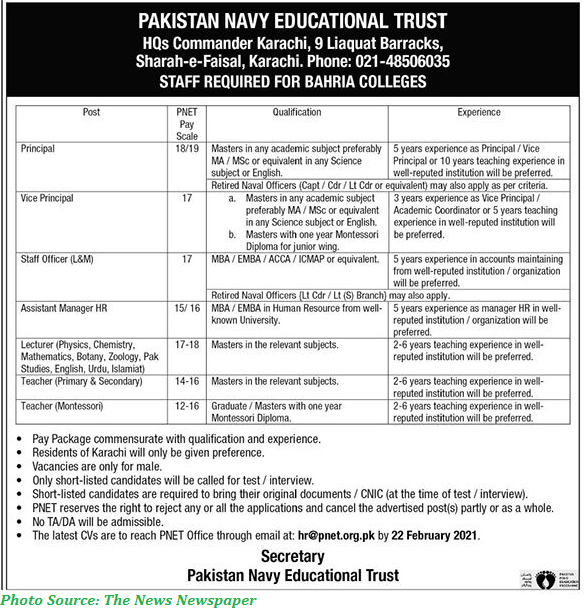 Pakistan Navy Educational Trust Jobs February 2021 Latest Teaching and Non Teaching Staff