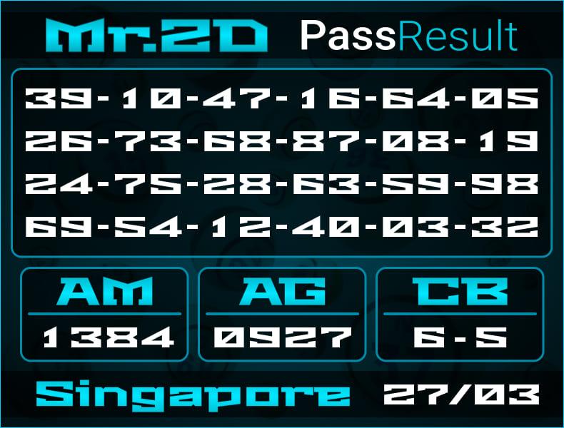 Prediksi Mr.2D | PassResult - Sabtu, 27 Maret 2021 - Prediksi Togel Singapore