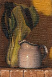 Oil painting of a small white milk jug beside a bok choy cluster.