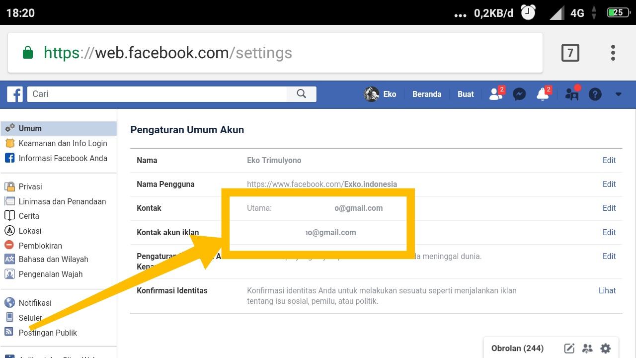 cara menghubungi pihak facebook lewat email