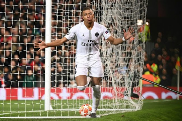 Mbappe celebrates goal against Manchester United in the first leg Champions league last 16 tie