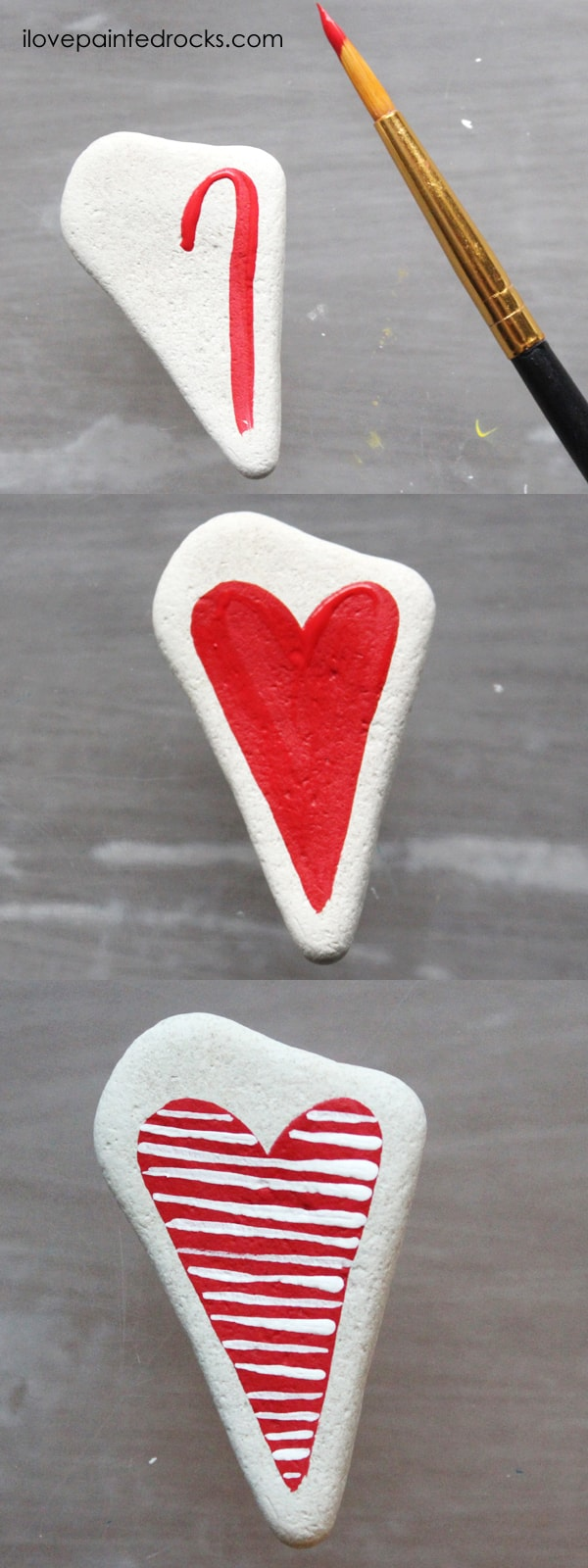 Easy rock painting ideas for Valentine's Day. I love all the painted rock tutorials in this post! Learn how to paint a striped heart rock. #ilovepaintedrocks #rockpainting #paintedrocks #valentinescraft #easycraft #kidscraft #rockpaintingideas
