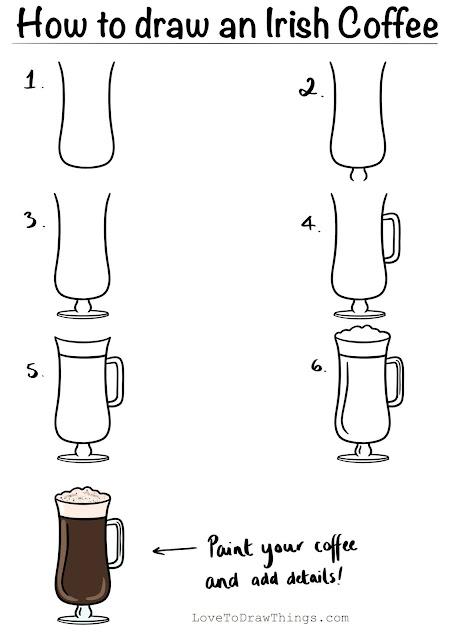 Easy step by step drawing tutorial Irish coffee