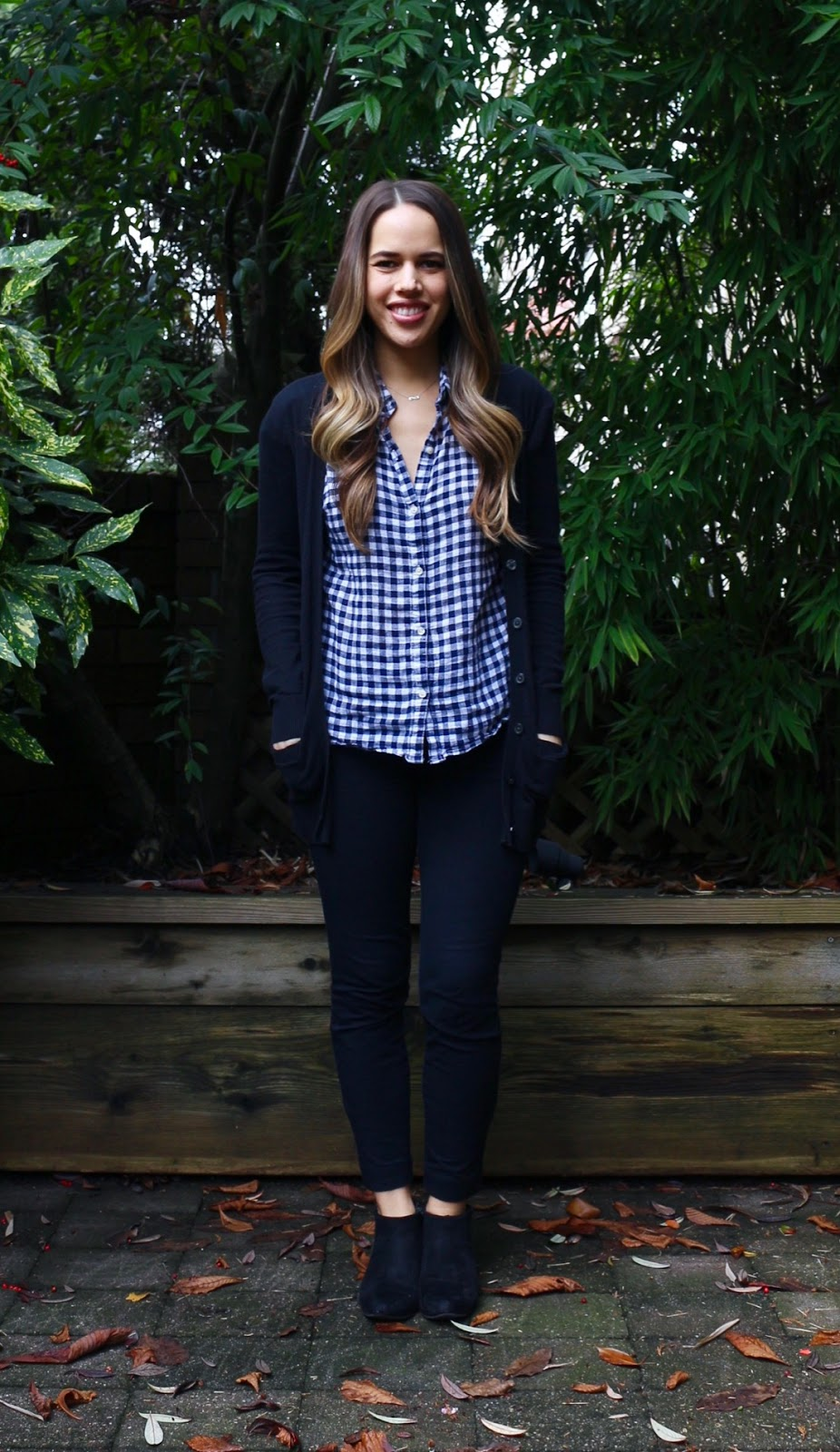 Jules in Flats - Gingham Shirt Outfit Idea (Business Casual Winter Workwear on a Budget)