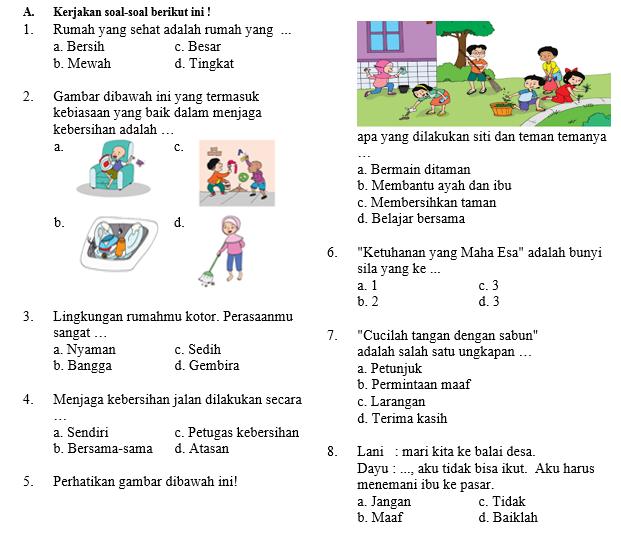 Soal Ujian Semester Kelas 1 Tema 6 SD/MI