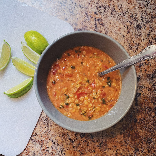 curried lentil, tomato, and coconut soup
