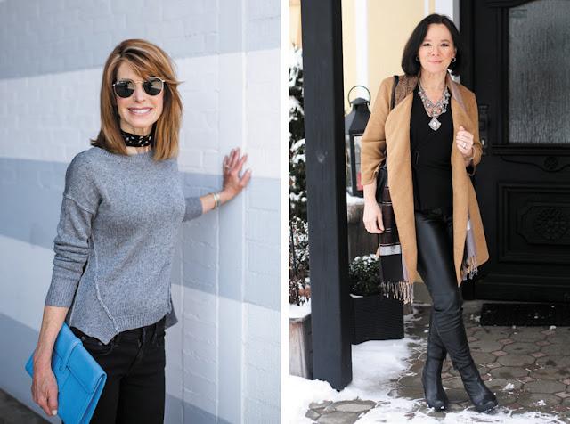 Чокер с серым свитером и этническое колье с кожаными брюками на женщине за 50