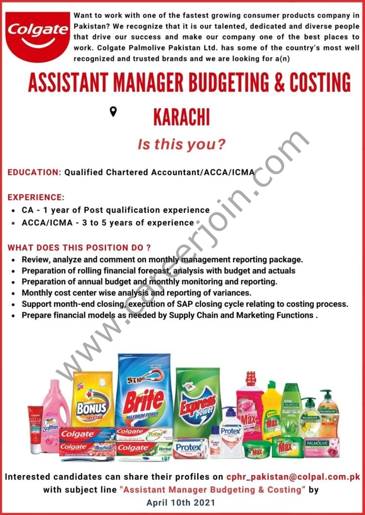 Latest Jobs 2021 in Colgate Palmolive Pakistan