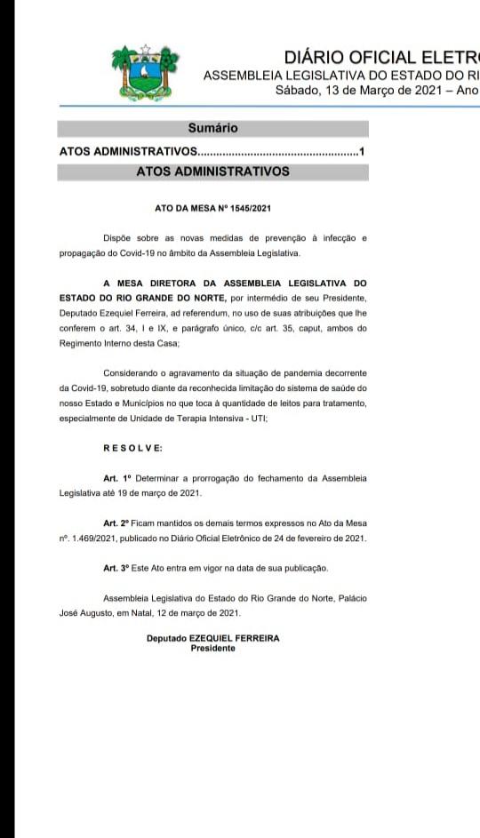 RAZOÁVEL: ATO DE EZEQUIEL PRORROGA FECHAMENTO DA ASSEMBLEIA