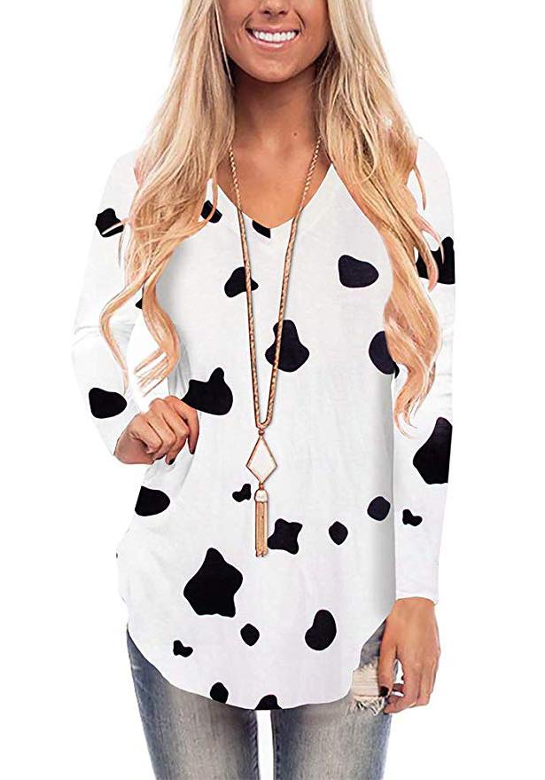 WFTBDREAM Womens Casual Curved Hem Long Sleeve T Shirt V Neck Side Slit Blouse - cow