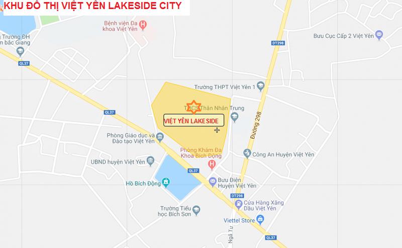 Vị trí Dự án Việt Yên Lakeside City