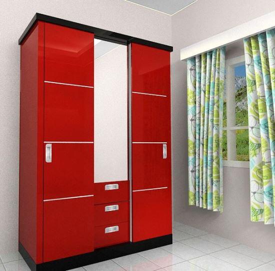 model lemari pakaian minimalis berwarna cerah