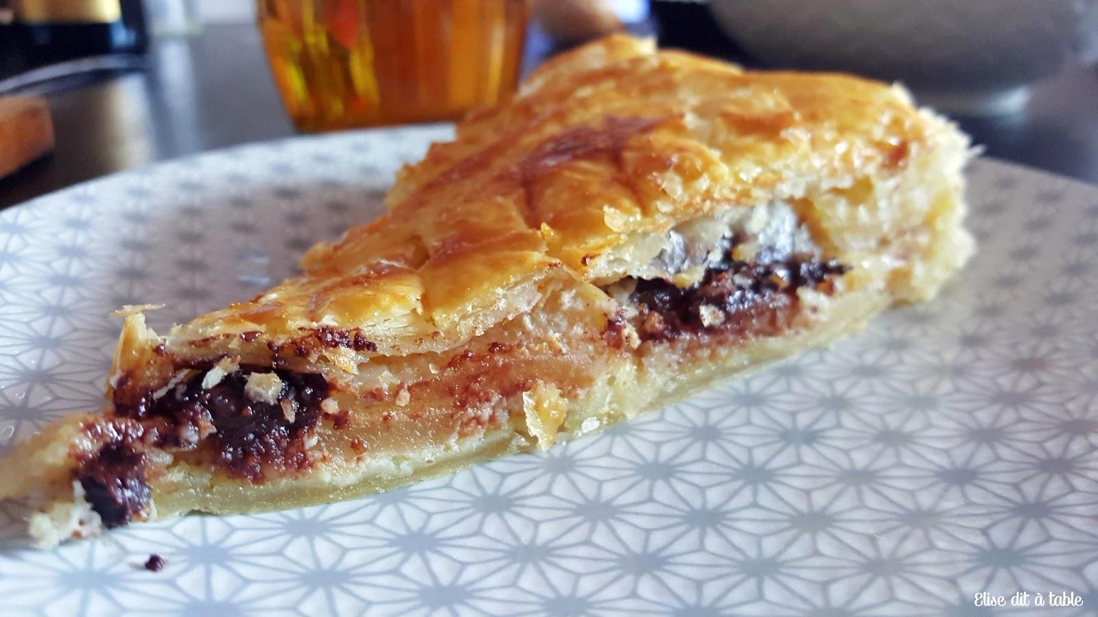 recette Galette à la crème d'amande, pomme chocolat