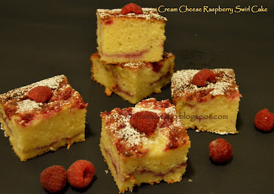 Cream Cheese Raspberry Swirl Cake