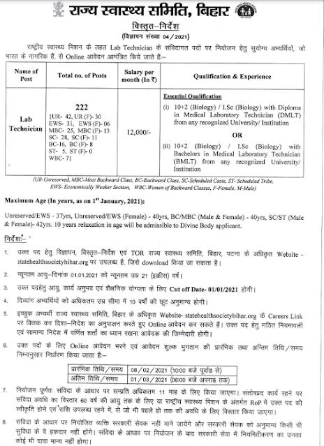 SHS Bihar LT Online form 2021