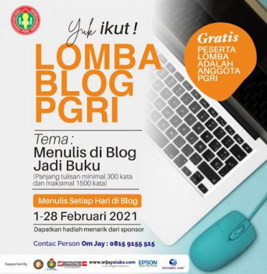 """Menulis di Blog Jadi Buku"" Catatan Lomba Blog PGRI, Februari 2021"