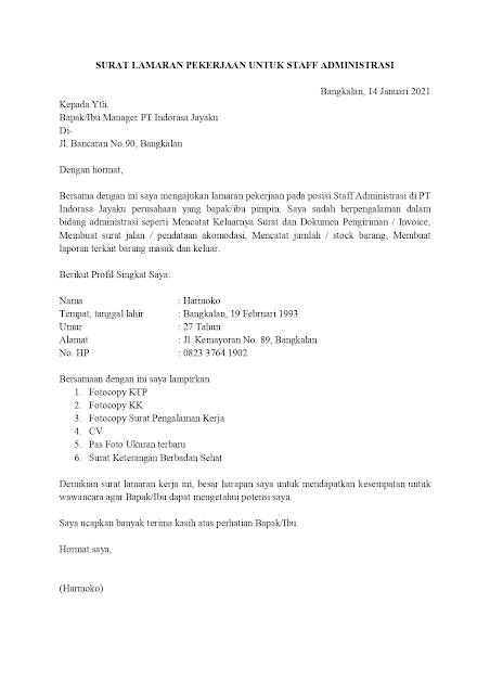 42+ Contoh surat lamaran kerja bahasa inggris administration staff terbaru terbaru