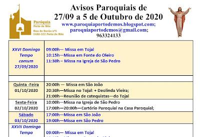 Avisos paroquiais - 27 de Setembro a 5 de Outubro de 2020