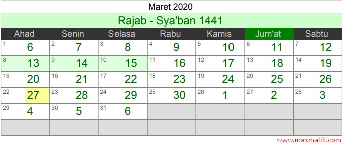 kalender Islam 2020, Maret