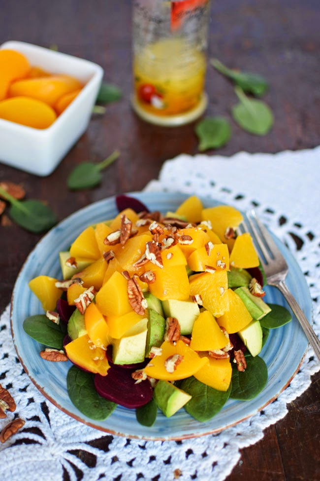 Sunny Peach Salad with Vinaigrette