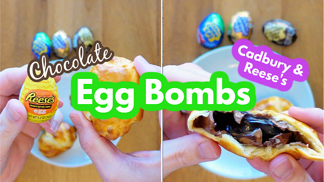 Easter Cadbury Creme Eggs and Reese's Peanut Butter Creme Egg Croissant Bombs Recipe