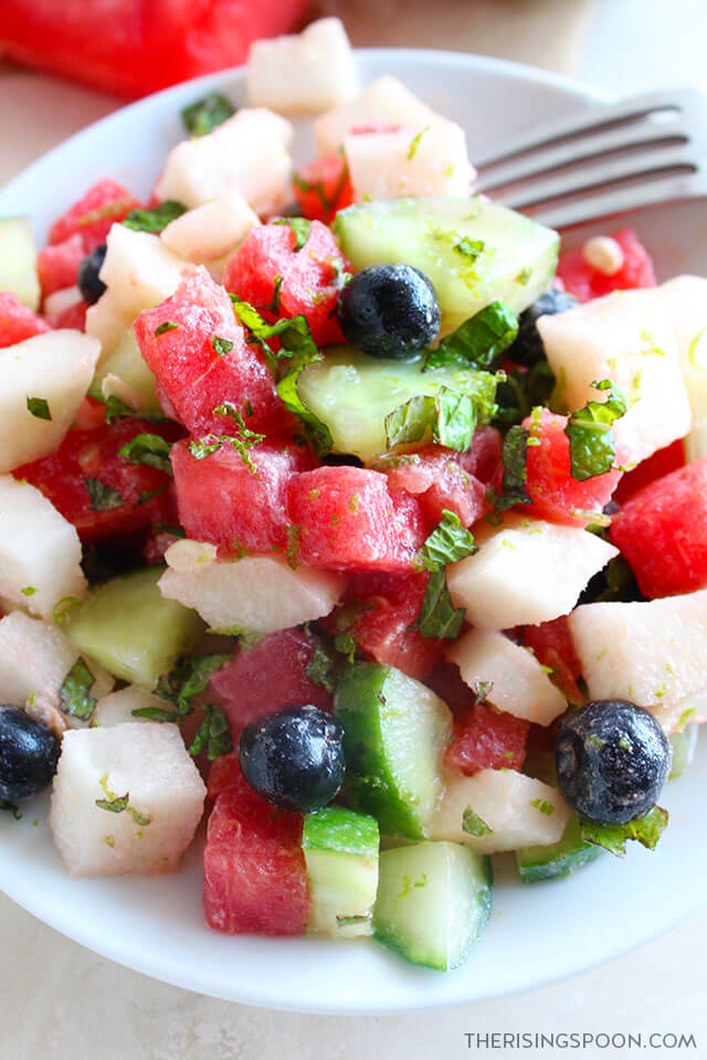 Watermelon Salad with Cucumber, Blueberries, Jicama & Coconut Lime Dressing