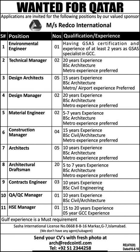 redco international latest jobs for qatar engineers ,managers