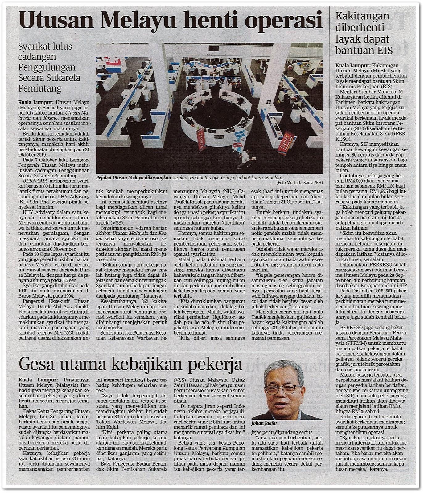 Utusan Melayu henti operasi - Keratan akhbar Berita Harian 10 Oktober 2019