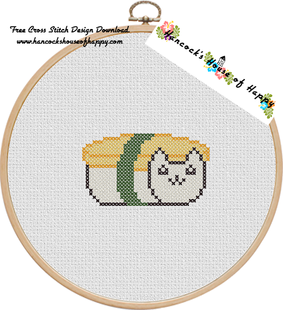 Sushi Cat Cross Stitch Design: Tobiko Maki Cat Free Cross Stitch Pattern to Download