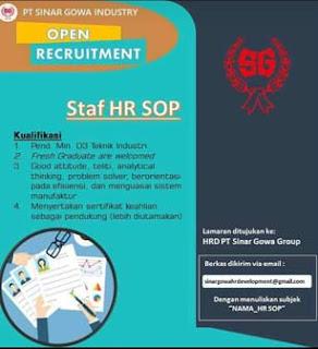 Lowongan Kerja Staff HR SOP di PT Sinar Gowa Industry