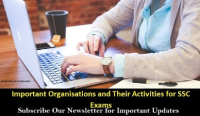 Important Organisations and Their Activities for SSC Exams