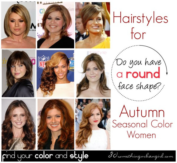 Best hairstyles for Autumn seasonal color women with round face shape