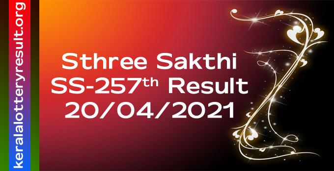 Sthree Sakthi SS 257 Lottery Result 20-04-2021