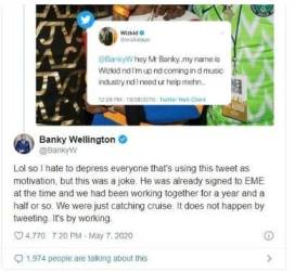 "Banky W ""reacted"" to a old tweet shared by wizkid asking him for help"
