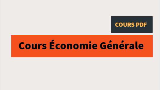 Cours économie générale PDF