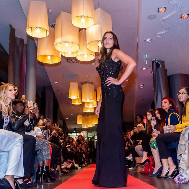 Black Backless Floral Lace Appliques Evening Dress