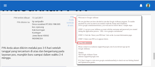 alamat yang anda cantumkan di akun AdSense