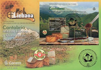 sobre, filatelia, hoja bloque, sello, Denominación de Origen, Liebana, Cantabria, miel, queso, Tres Leches, Tresviso