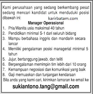 Lowongan Kerja Manager Operasional