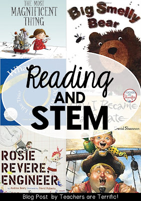 Reading and STEM: Check this blog post for things I love- including using picture books for STEM in first and second grades!