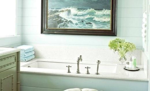 Large Coastal Ocean Art in Bathroom