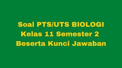 Soal PTS/UTS Biologi Kelas 11 Semester 2 SMA/SMK Beserta Jawaban