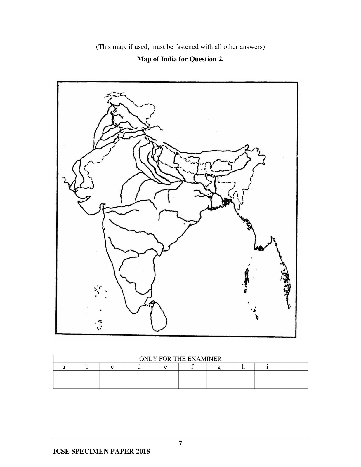 icse 2018 class 10th geography H.C.G Paper 2 specimen question paper