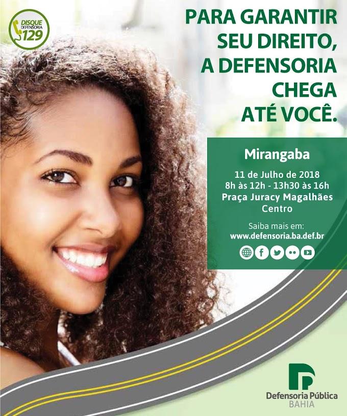 Unidade Móvel da Defensoria Pública estará em Mirangaba no dia 11